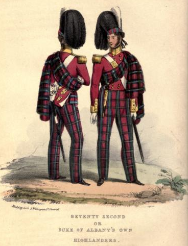 Oficerowie 72. Pułku Pieszego. Lata 40. XIX wieku. (Historical record of the Seventy-second Regiment, or the Duke of Albany's Own Highlanders. London: Parker, Furnivall, and Parker. 1848)