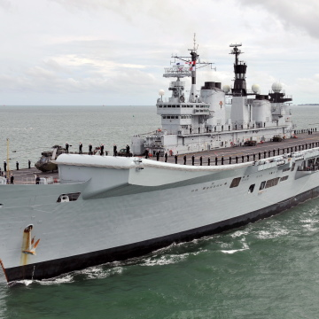 Royal Navy Aircraft Carrier HMS Illustrious Returns To Portsmouth Folllowing Refit