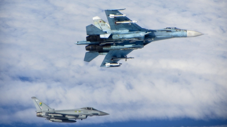 Russian SU-27 Flanker with RAF Typhoon