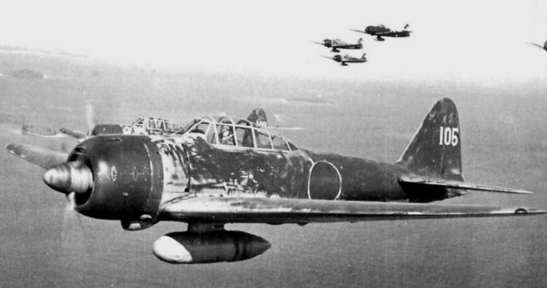 Myśliwce A6M3 nad Wyspami Salomona. (autor nieznany)