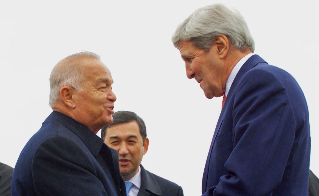 Islom Karimov z amerykańskim sekretarzem stanu Johnem Kerrym (fot. US Department of State)
