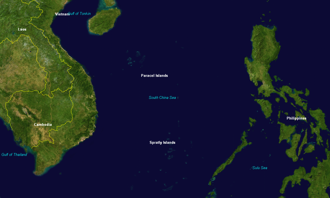 Wyspy Paracelskie i Spratly (fot. NASA)