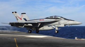 F/A-18F Super Hornet assigned to the Checkmates of Strike Fighter Attack Squadron (VFA) 211 is launched off the flight deck of the aircraft carrier USS Theodore Roosevelt (CVN 71). Theodore Roosevelt is out to sea preparing for future deployments. (U.S. Navy photo by Mass Communication Specialist Seaman Anthony N. Hilkowski/Released)