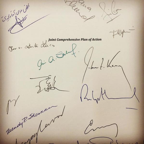 Podpisy uczestników negocjacji na pierwszej stronie dokumentu JCPOA