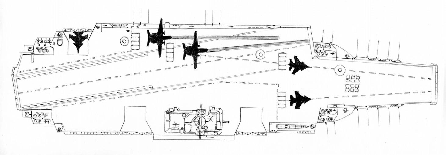 Uljanowsk w rzucie górnym. Do startu z rampy przygotowana para Su-33, tymczasem na katapultach stoją dwa samoloty Jak-44 (К.Е.Сергеев, Creative Commons Uznanie autorstwa – Na tych samych warunkach 3.0)