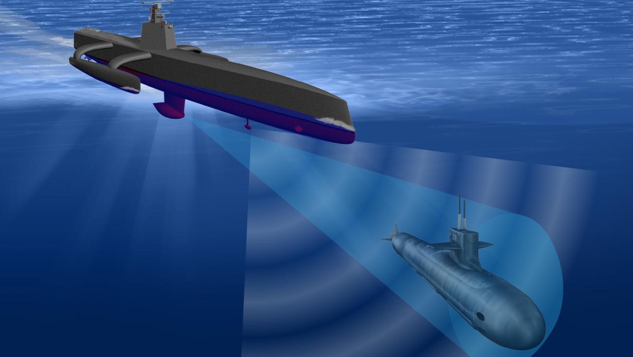 US Navy 2030  Wizja bezzałogowej jednostki ACTUV; według jej koncepcji wybudowano USS Sea Hunter