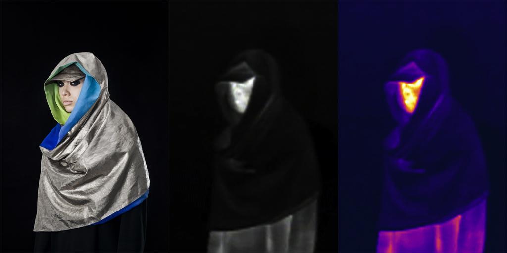 Ubiór z tkanin z udziałem posrebrzanych włókiem mający utrudniać rozpoznanie sylwetki człowieka przez czujniki działające w podczerwieni (fot. AH Projects)