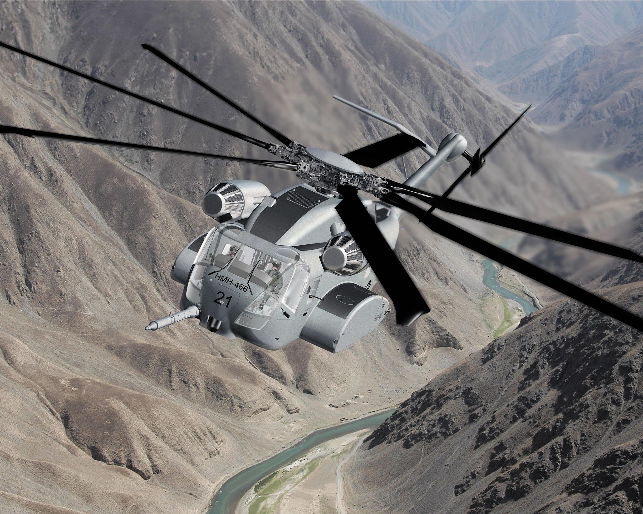 """CH-53K najdroższy śmigłowiec na świecie: Artystyczna wizja CH-53K z HMH-466 """"Wolfpack"""" mającej być pierwszą eskadrą liniową używającą King Stallionów (Lockheed Martin)"""
