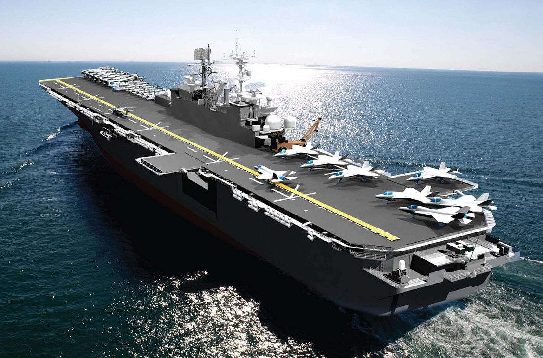 Widoczne niedostatki pokładu lotniczego USS Tripoli – brak miejsca na rufie wymusza kolejność przemieszczania F-35B, ciasnota przed nadbudówkami uniemożliwia operacje bez zakłócania startu myśliwców (Huntington Ingalls Industries)