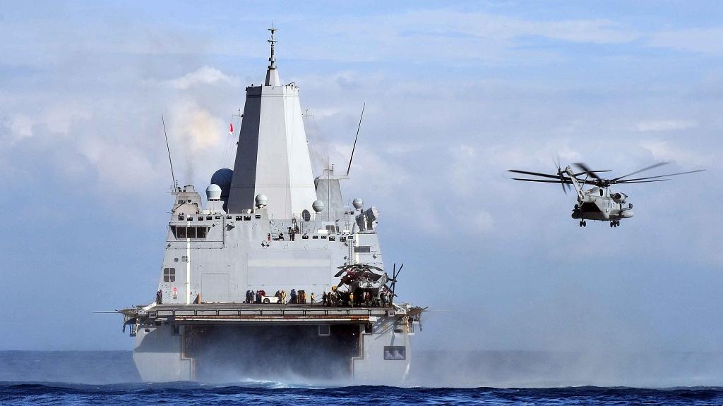 Okręt desantowy USS Mesa Verde (LPD 19) podczas ćwiczeń na Morzu Śródziemnym w 2011 roku (US Navy / Mass Communication Specialist 2nd Class Josue L. Escobosa)