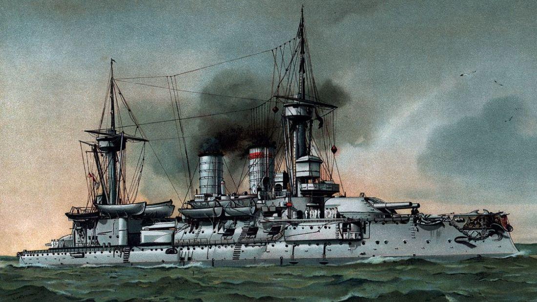 Jeden z najwcześniejszych pancerników, zwodowany w 1891 roku niemiecki SMS Kurfürst Friedrich Wilhelm (tu na litografii Hugona Grafa), miał wyporność 10670 ton i był uzbrojony w sześć dział kalibru 280 mm