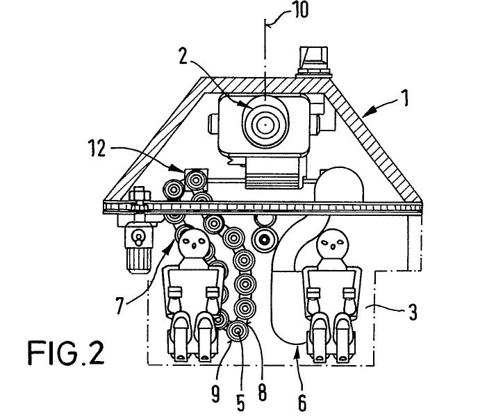 Schemat układu wieży (widzianej od przodu) z patentu DE-196-44-524-A-1