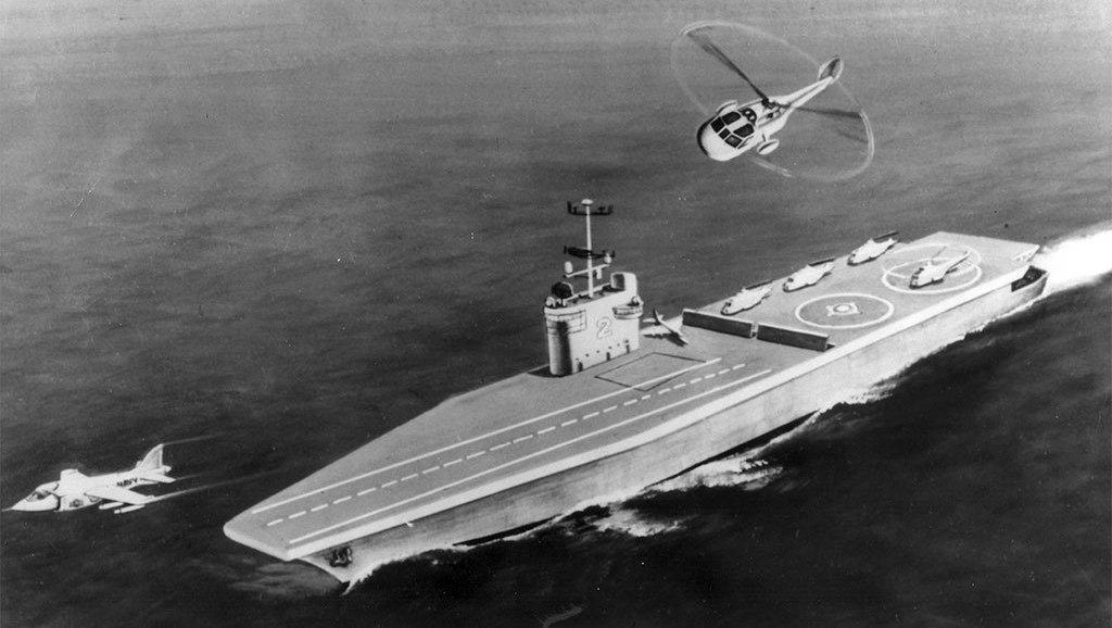 Jeden z wariantów wizji Sea Control Ship z 1974 roku, którego pomysł wykorzystano później przy opracowaniu używanego w latach 1988–2013 hiszpańskiego lotniskowca Príncipe de Asturias (US Navy via Defense Media Network)