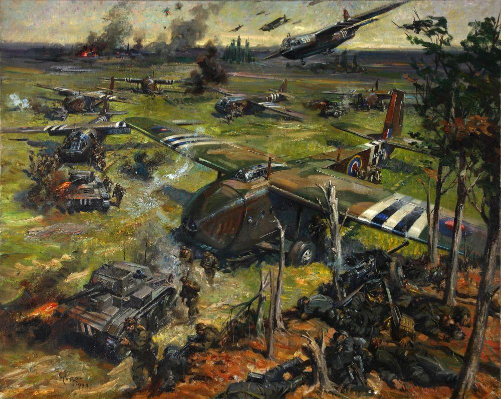 Artystyczne przedstawienie Mk VII w Normandii na obrazie Terence'a Cuena. Warto zwrócić uwagę na to, iż artysta zapomniał otworzyć wrota dziobowe Hamilcarów!