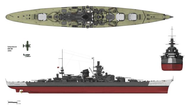 Scharnhorst w konfiguracji z grudnia 1943 roku