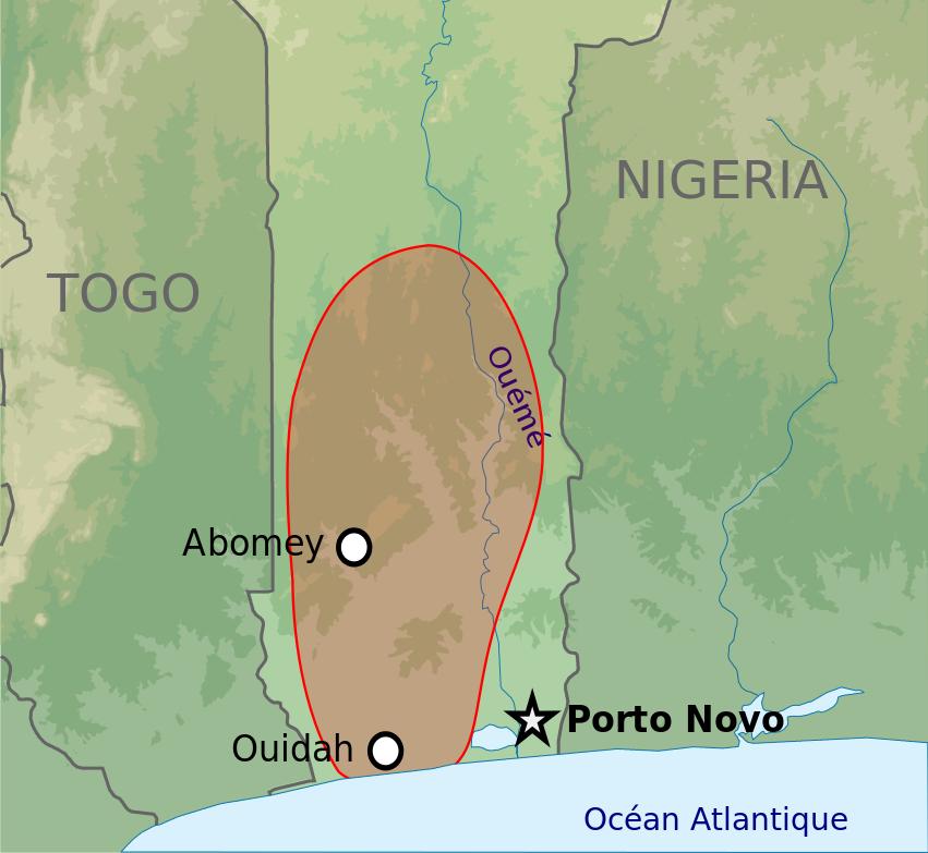 Dahomej na tle dzisiejszego południowego Beninu